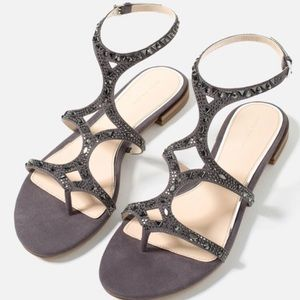 Zara Rhinestone Gray Sandals